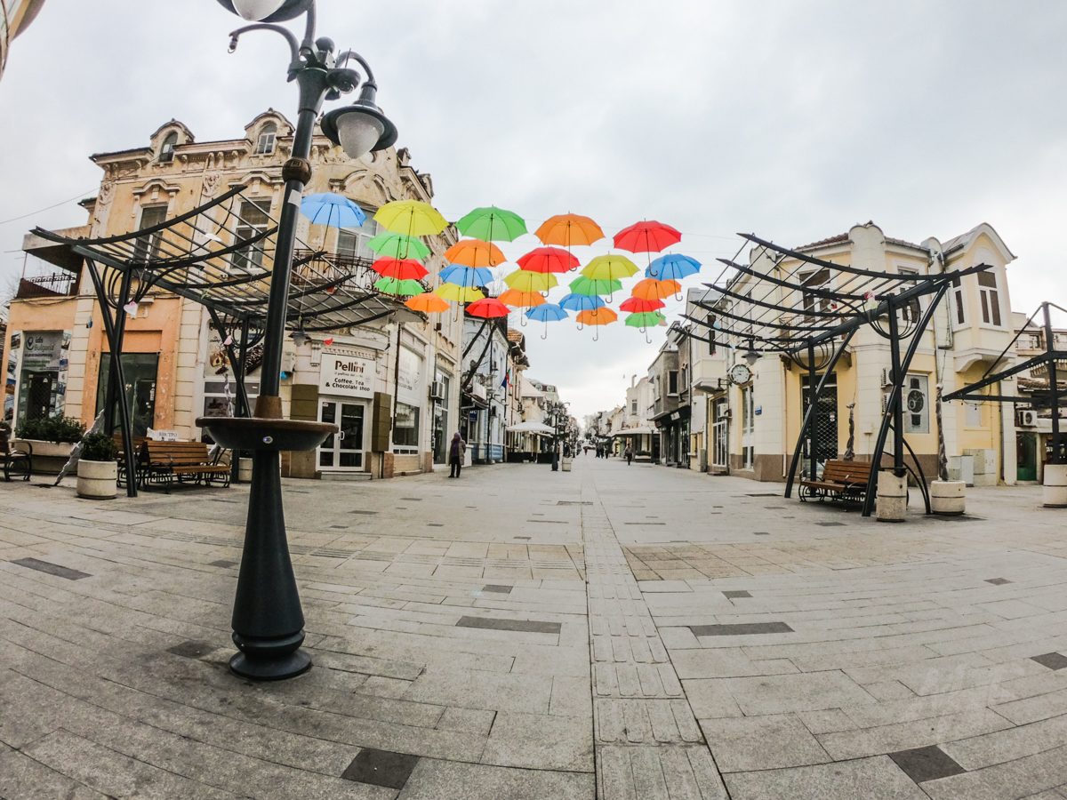 installation with umbrellas in Burgas