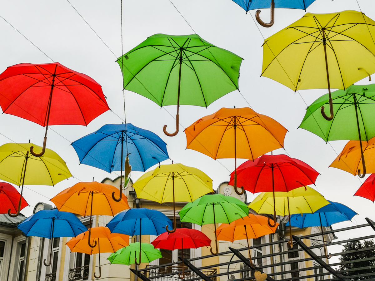 Art installation with umbrellas in Burgas