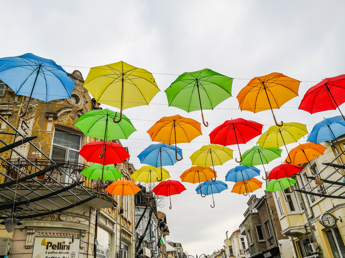 Art installation with umbrellas