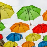 Art installation with umbrellas at boulevard Bogoridi