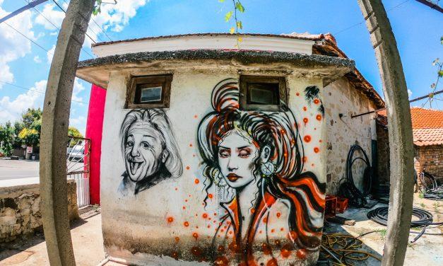 Лицата на Айнщайн и на Мерилин Монро в село Просеник